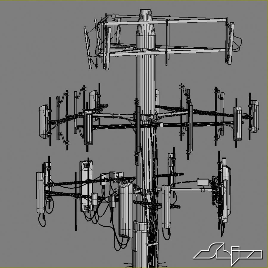 Communication Antena 3 royalty-free 3d model - Preview no. 8