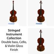 Collection musicale à cordes brillant 3d model