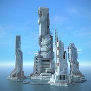 Sci Fi City Futuristic Cityscape 3d model