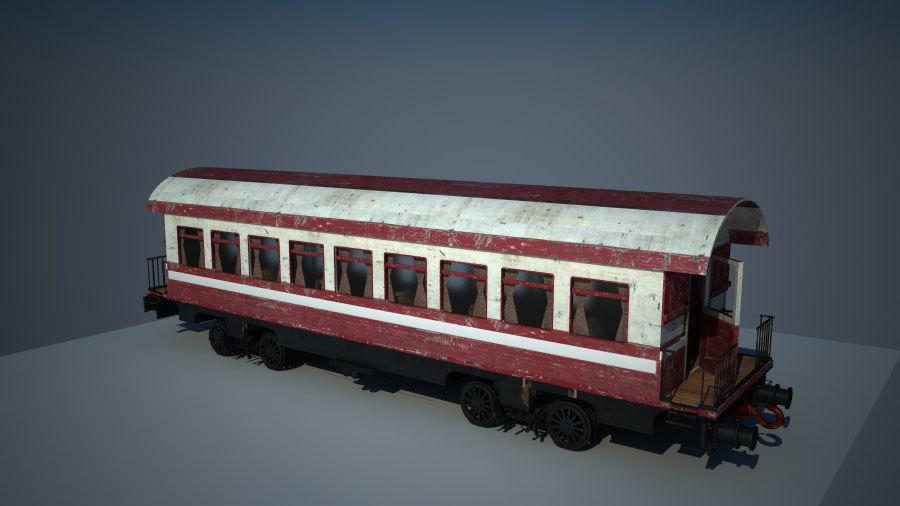 Gammal tågvagn royalty-free 3d model - Preview no. 4