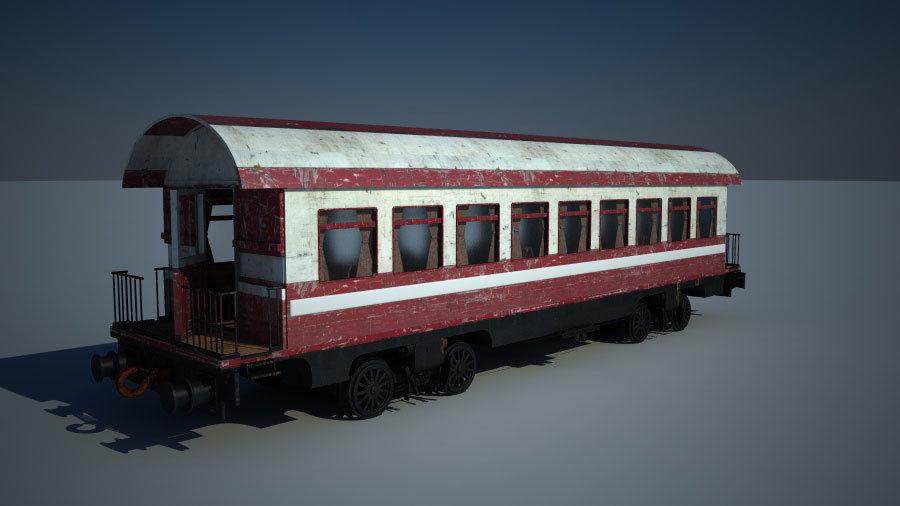 Gammal tågvagn royalty-free 3d model - Preview no. 3