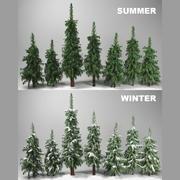 숲 전나무 3d model