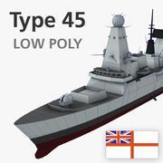 Model 3D niszczyciela typu 45 o niskim poligonie 3d model