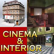 复古电影与室内 3d model