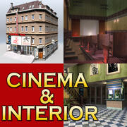 Ретро кино и интерьер 3d model