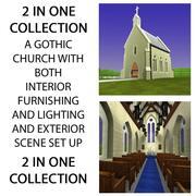Wnętrze i wnętrze kościoła 3d model