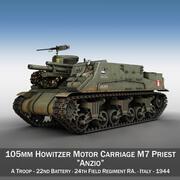 M7 Priest - armia brytyjska 3d model