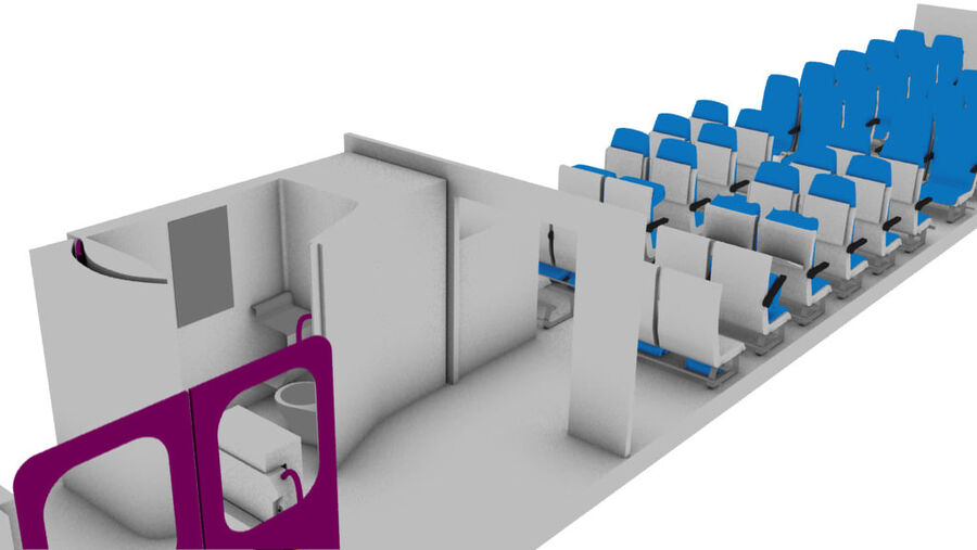 tågvagn interiör royalty-free 3d model - Preview no. 1