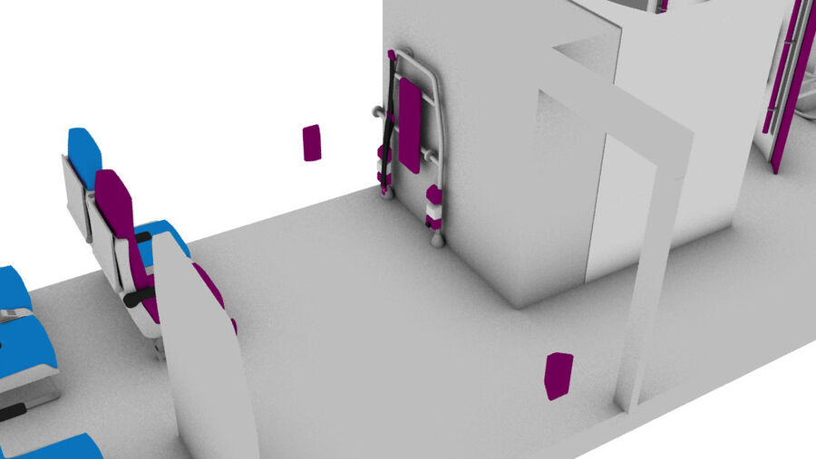 tågvagn interiör royalty-free 3d model - Preview no. 5