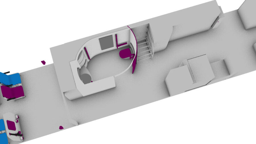 tågvagn interiör royalty-free 3d model - Preview no. 6