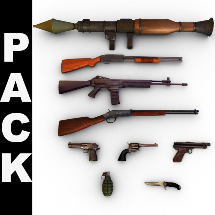 Modern Weapons Pack royalty-free 3d model - Preview no. 1