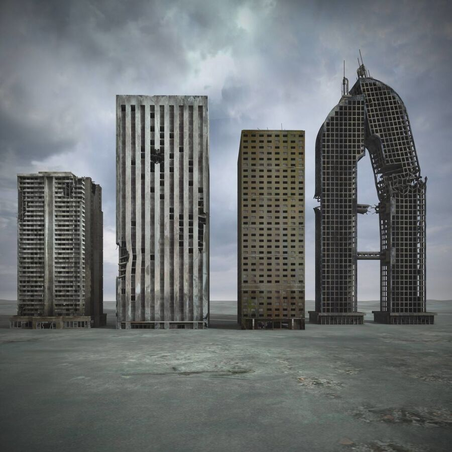 Destroyed Ruin Building royalty-free 3d model - Preview no. 2