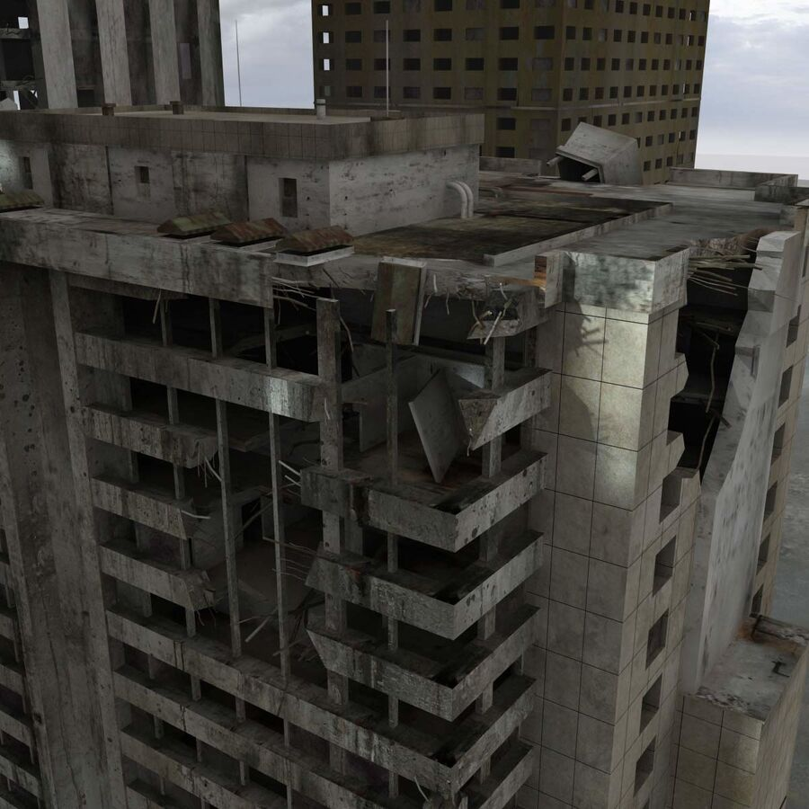 Destroyed Ruin Building royalty-free 3d model - Preview no. 9