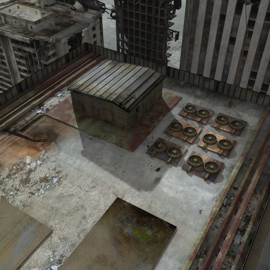 Destroyed Ruin Building royalty-free 3d model - Preview no. 23