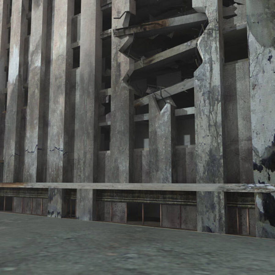 Destroyed Ruin Building royalty-free 3d model - Preview no. 20