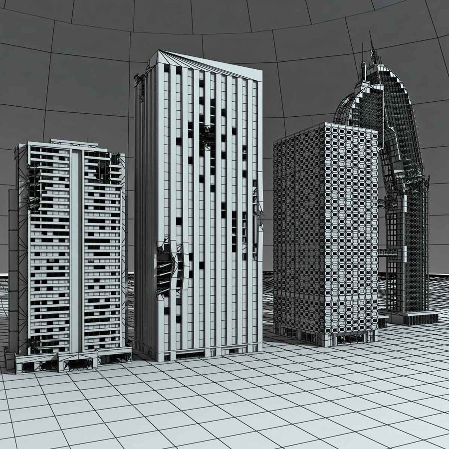 Destroyed Ruin Building royalty-free 3d model - Preview no. 28