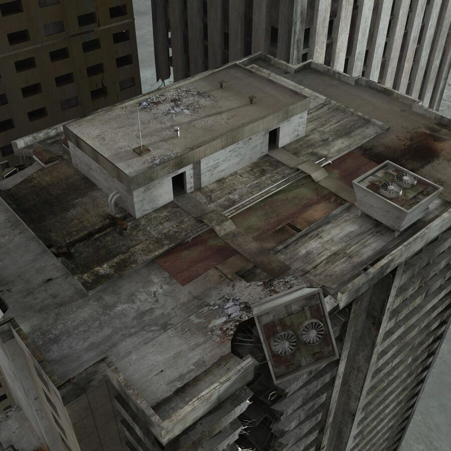 Destroyed Ruin Building royalty-free 3d model - Preview no. 22