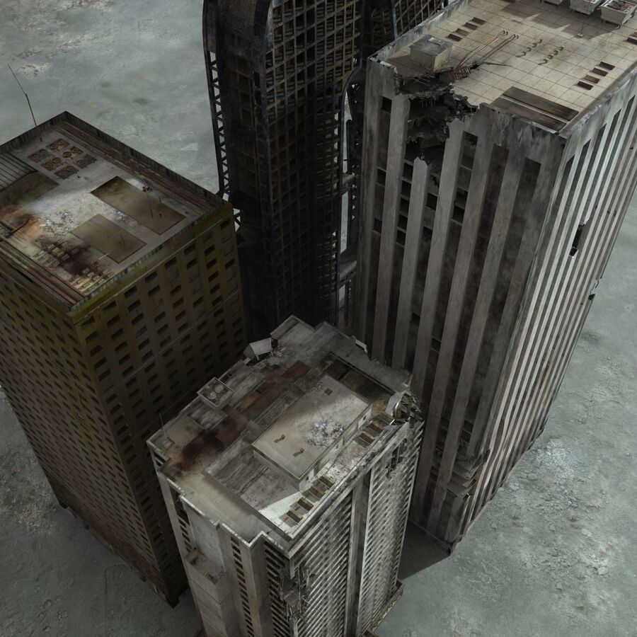 Destroyed Ruin Building royalty-free 3d model - Preview no. 4