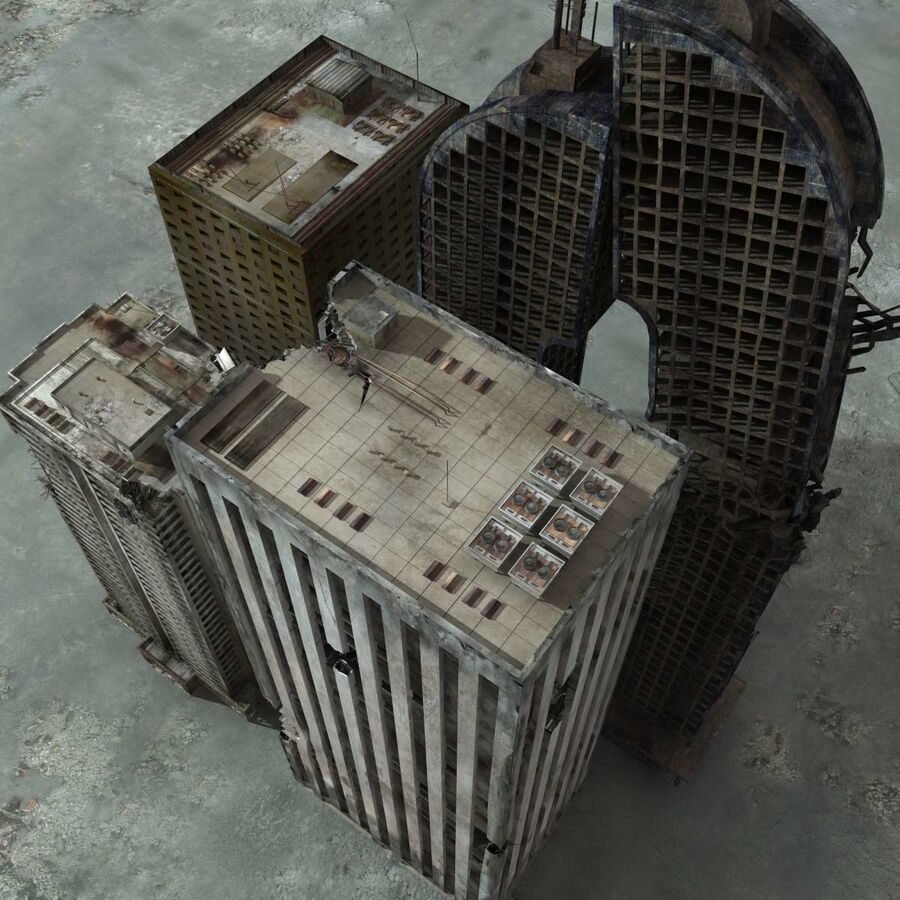 Destroyed Ruin Building royalty-free 3d model - Preview no. 5