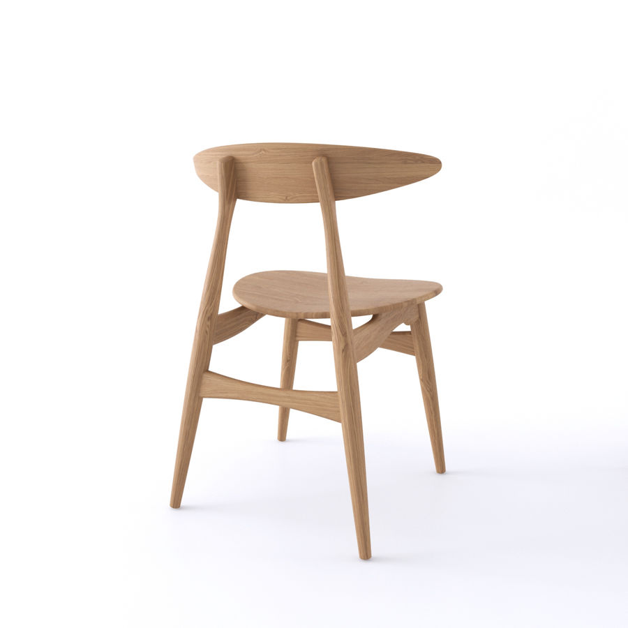 Cadeira CH33 por Hans Wegner royalty-free 3d model - Preview no. 5