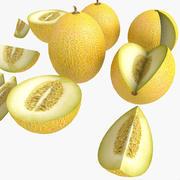 Melone-Weiß-Gelb-Obstmarkt-Speicher-Geschäft-Convenience-allgemeines Lebensmittelgeschäft-Gemüseladen-Detail-Stütze-angemessenes Plantagen-Dschungel-Südbetriebs-Garten-Gewächshaus 3d model
