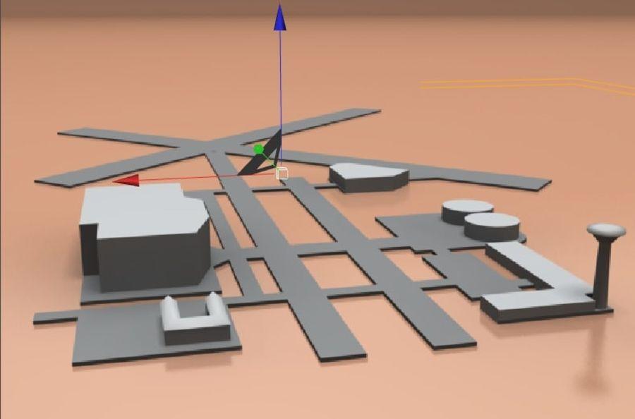공항 lowpoly royalty-free 3d model - Preview no. 1