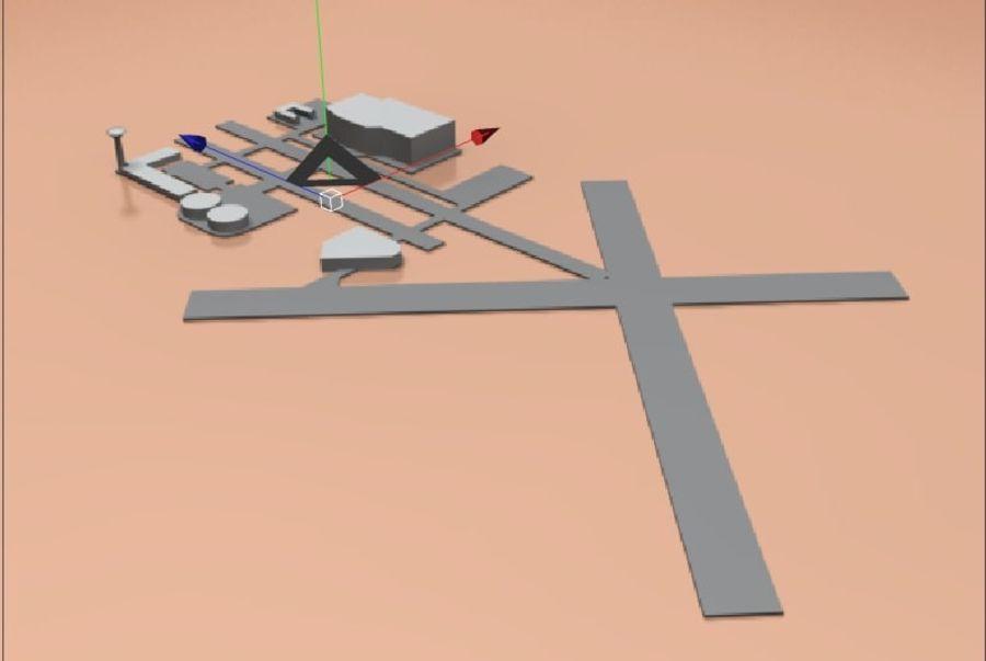 аэропорт lowpoly royalty-free 3d model - Preview no. 2