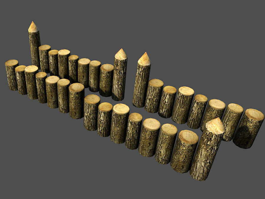 Wooden_Wall_Fence royalty-free 3d model - Preview no. 4