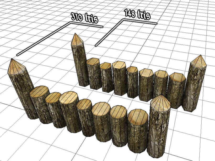 Wooden_Wall_Fence royalty-free 3d model - Preview no. 2