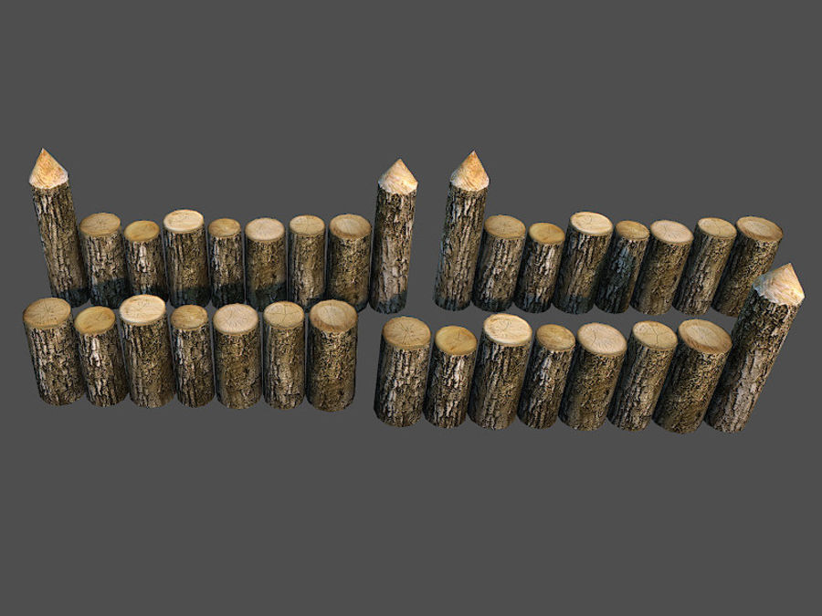 Wooden_Wall_Fence royalty-free 3d model - Preview no. 3