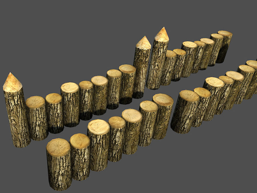 Wooden_Wall_Fence royalty-free 3d model - Preview no. 5