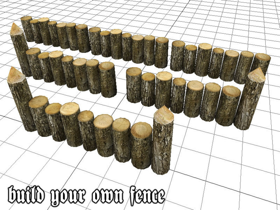 Wooden_Wall_Fence royalty-free 3d model - Preview no. 1