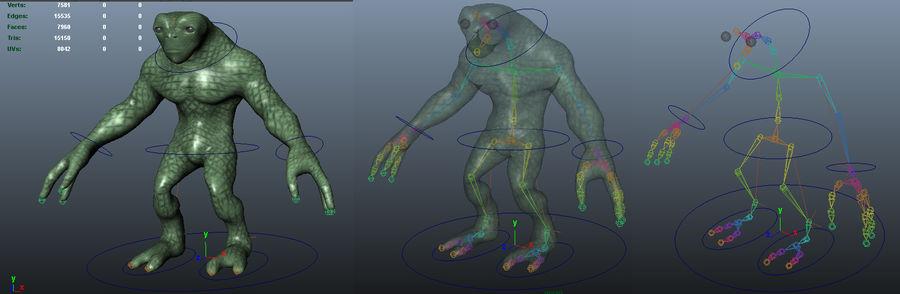 Reptile Alien Maya Rig royalty-free 3d model - Preview no. 5