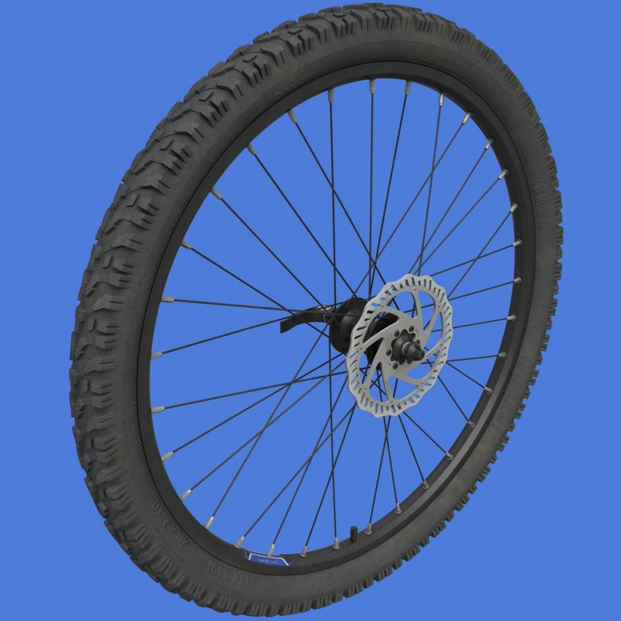 Mountain Bike Wheels + Tires royalty-free 3d model - Preview no. 3