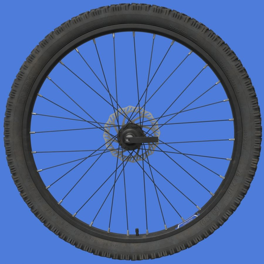 Mountain Bike Wheels + Tires royalty-free 3d model - Preview no. 7