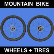 Mountain Bike Wheels + Tires 3d model