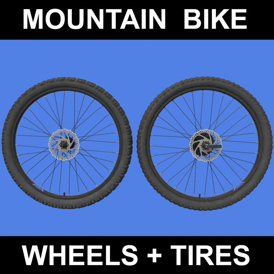 Mountain Bike Wheels + Tires royalty-free 3d model - Preview no. 1