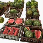 Melon Fruit Crates Cases Market Store Shop Convenience General Grocery Greengrocery Detail Prop Fair Plantation Jungle South Plant Garden Greenhouse Watermelon 3d model