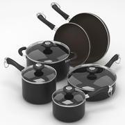 Kitchen pots set 3d model
