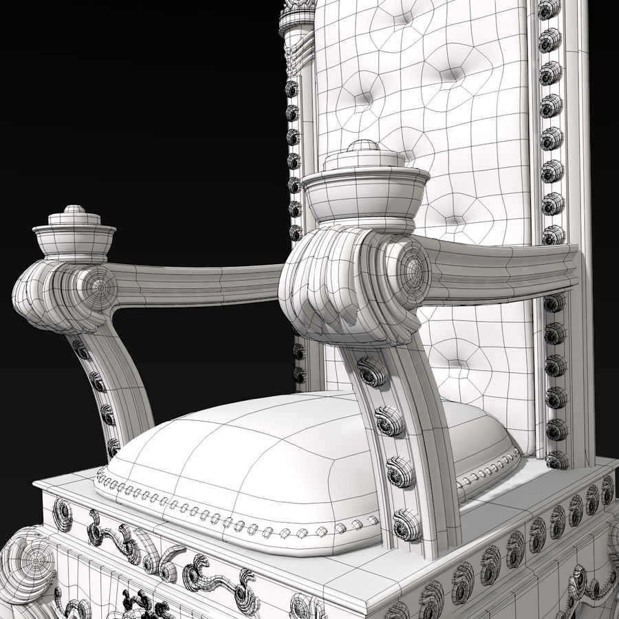 Kings Throne Chair royalty-free 3d model - Preview no. 9