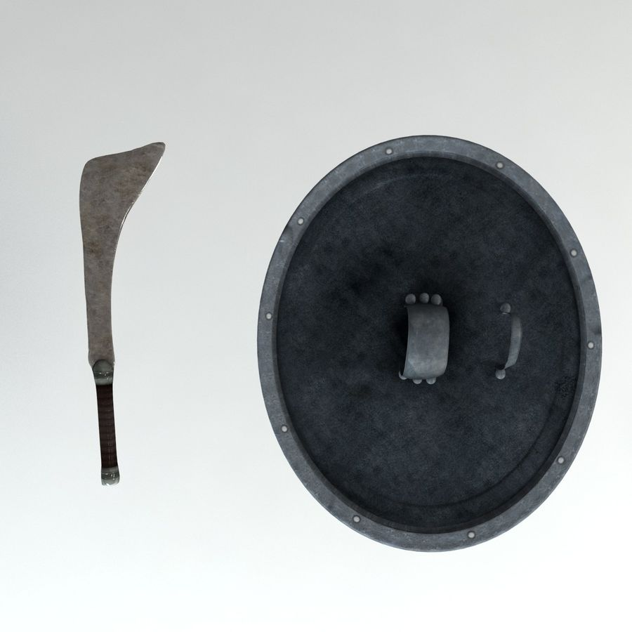 Warrior Shield and Weapon royalty-free 3d model - Preview no. 2