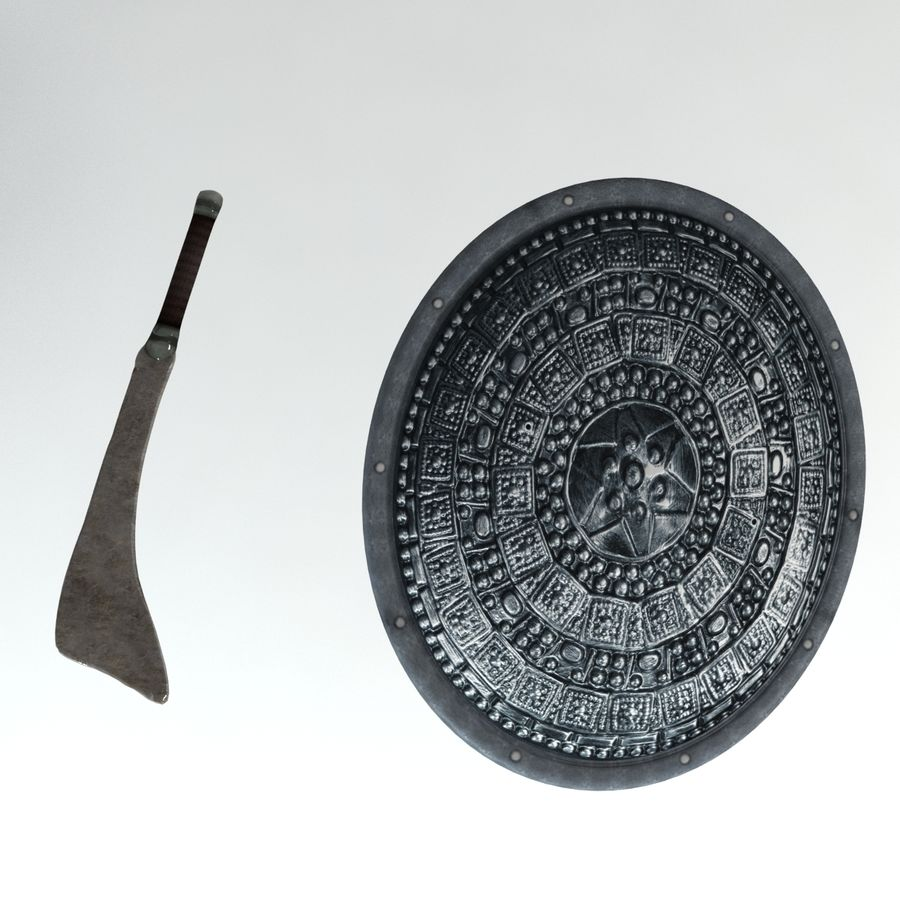 Warrior Shield and Weapon royalty-free 3d model - Preview no. 1