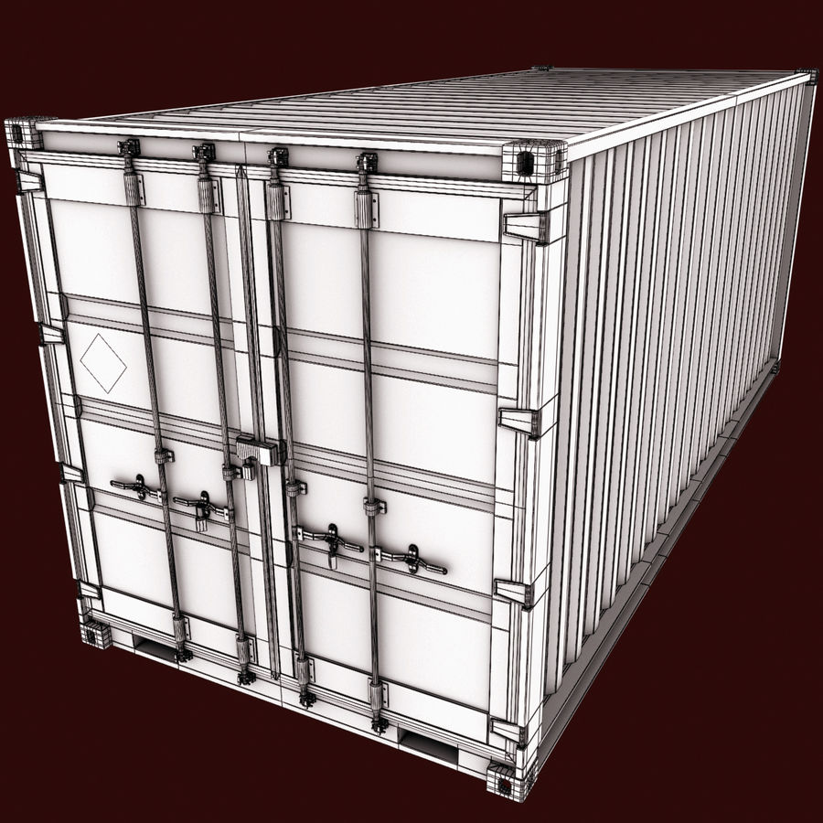 Container 20 feet royalty-free 3d model - Preview no. 12
