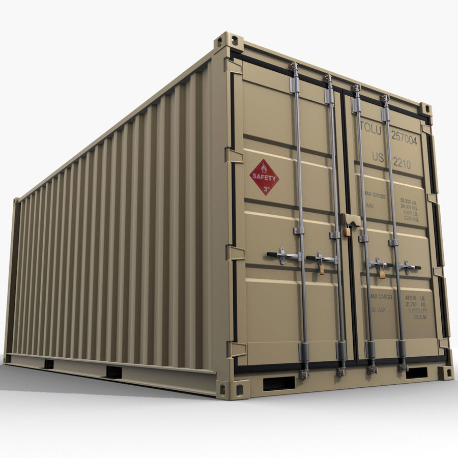 Container 20 feet royalty-free 3d model - Preview no. 5