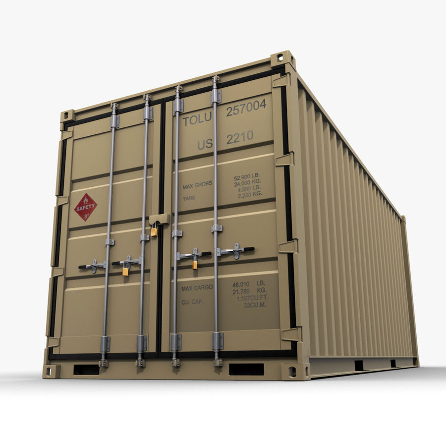 Container 20 feet royalty-free 3d model - Preview no. 4