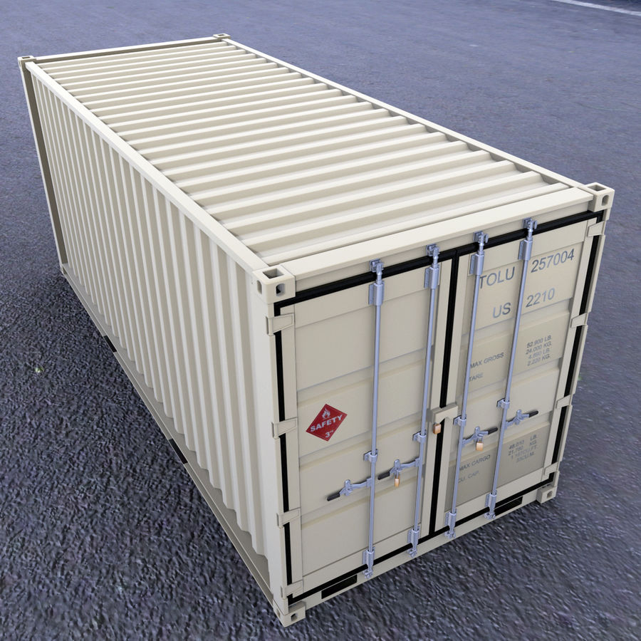 Container 20 feet royalty-free 3d model - Preview no. 2
