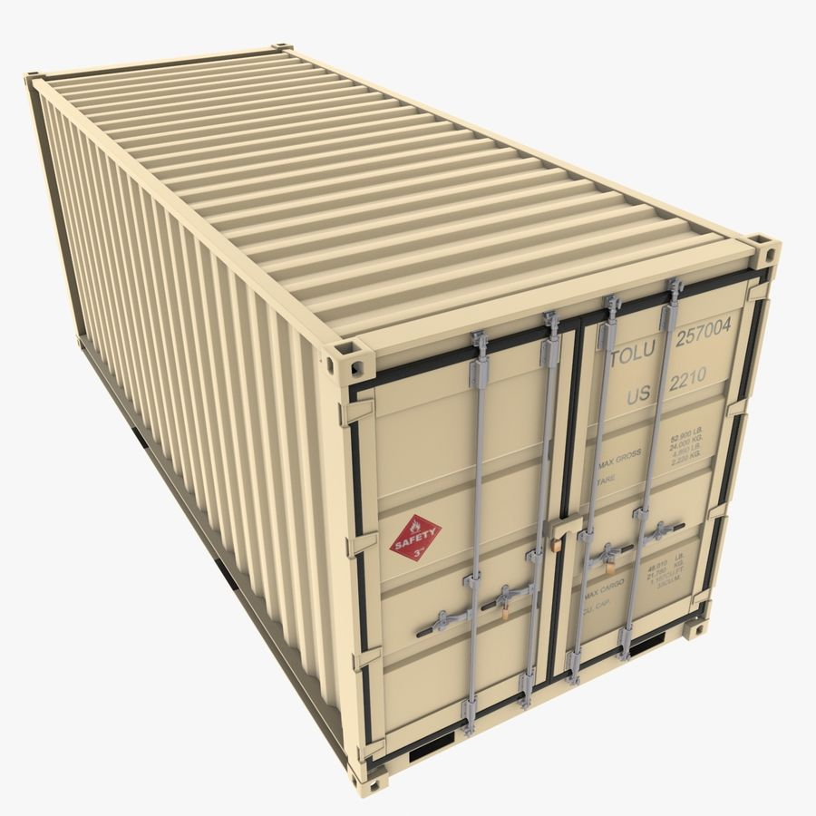 Container 20 feet royalty-free 3d model - Preview no. 1