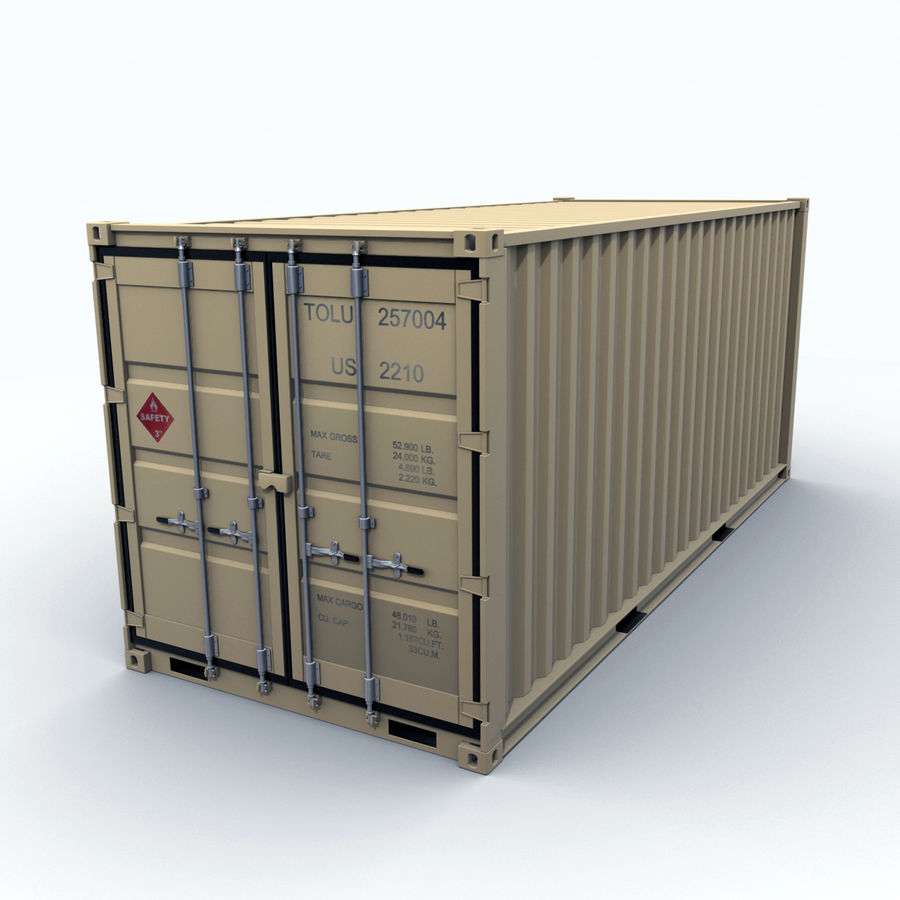 Container 20 feet royalty-free 3d model - Preview no. 3