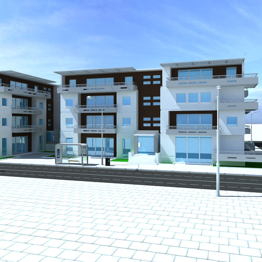 Apartment complex royalty-free 3d model - Preview no. 4