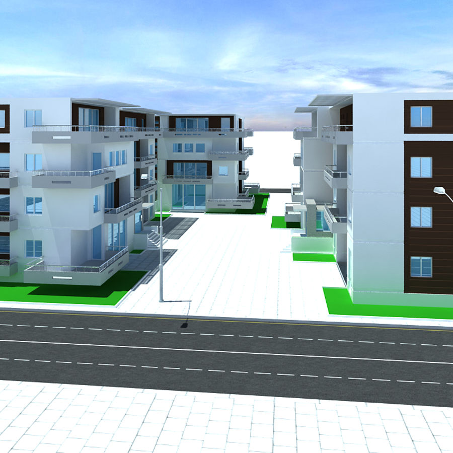 Apartment complex royalty-free 3d model - Preview no. 5